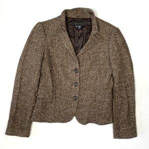 Zara 6 Brown Herringbone Jacket Blazer Wool Blend